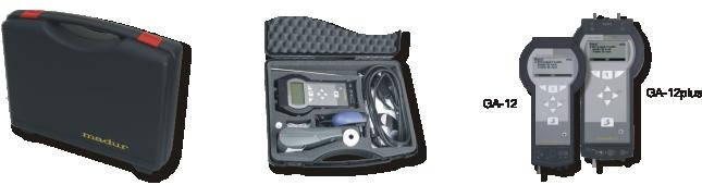 在便携箱中的GA-12<sup>plus</sup>分析仪;  GA-12 & GA-12<sup>plus</sup> - 尺寸比较